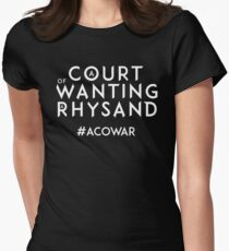 ACOWAR - A Court of Wanting a Rhysand - White Text Women's Fitted T-Shirt