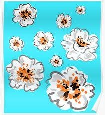 Watercolour Flower Print - Blue Poster
