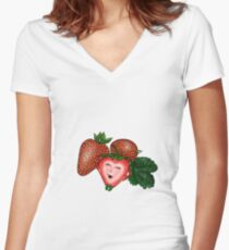 Chilled strawberry / Rocksie Doodles  Women's Fitted V-Neck T-Shirt