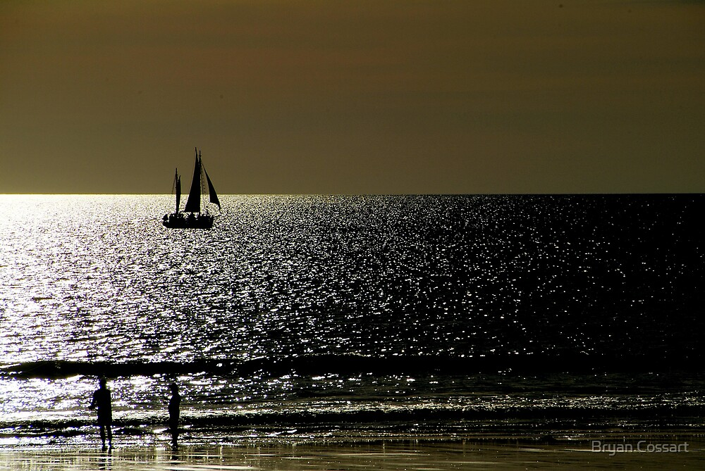 Glare on Cable Beach Broome by Bryan Cossart
