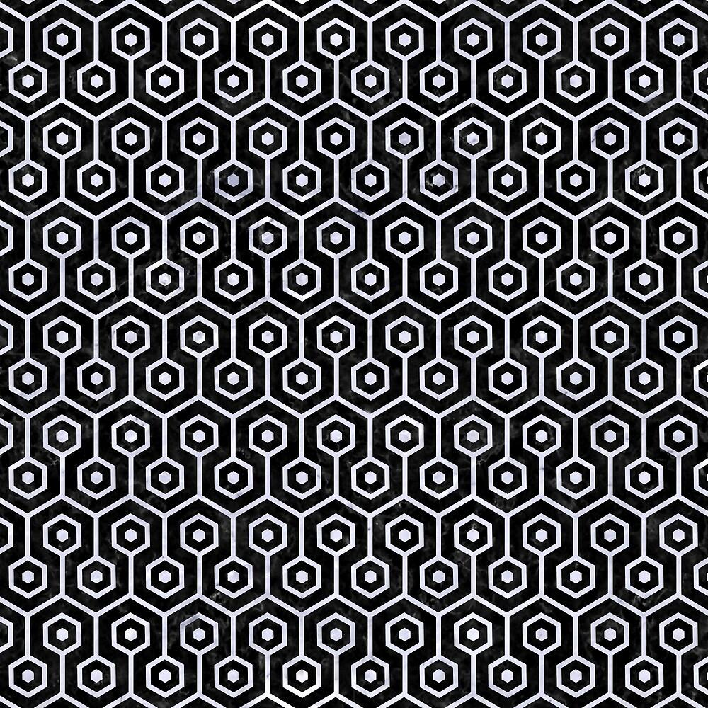 HEXAGON1 BLACK MARBLE AND WHITE MARBLE by johnhunternance