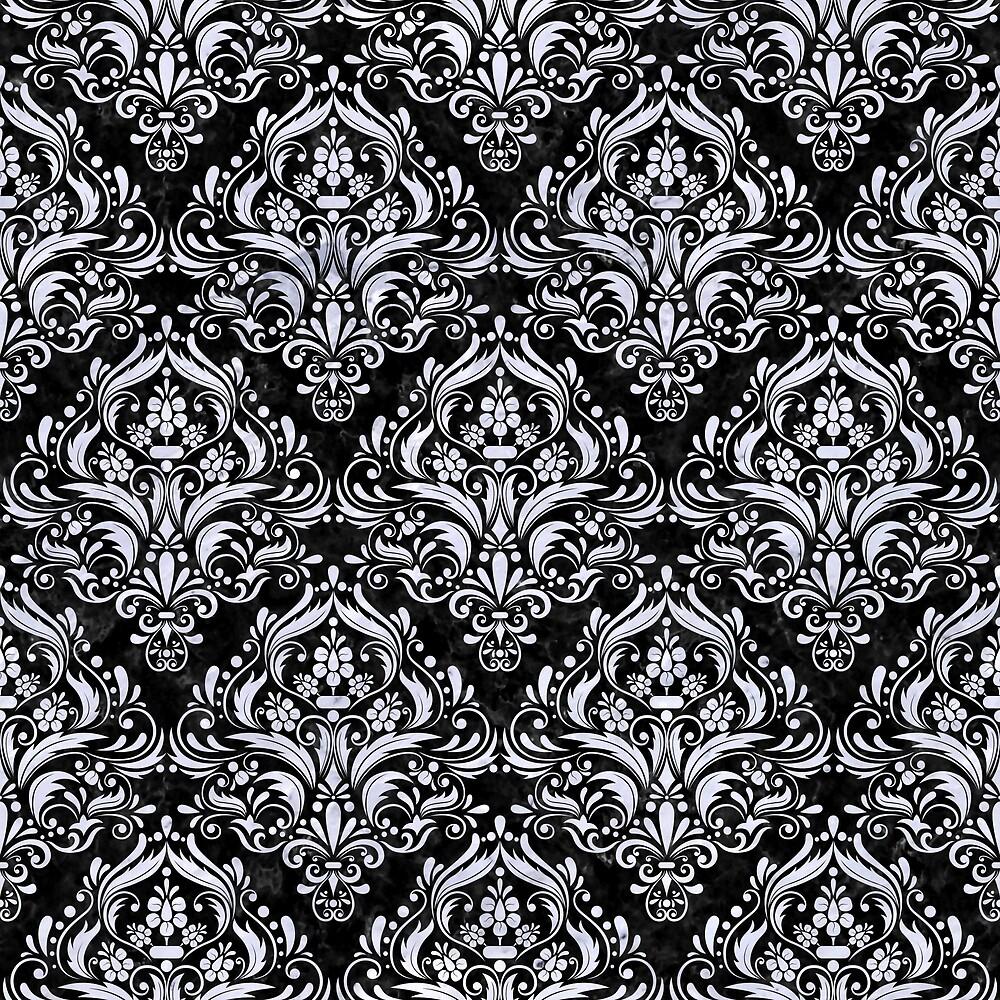DAMASK1 BLACK MARBLE AND WHITE MARBLE by johnhunternance