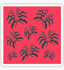 Luxury green Leaves on pink Sticker