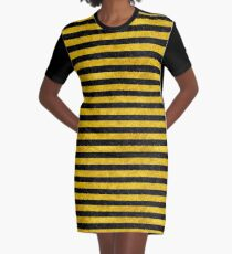 STRIPES2 BLACK MARBLE AND YELLOW MARBLE Graphic T-Shirt Dress