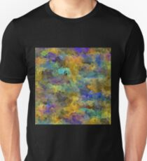 psychedelic painting abstract pattern in yellow brown blue Unisex T-Shirt