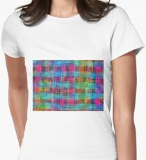 plaid pattern abstract texture in blue pink green yellow Womens Fitted T-Shirt