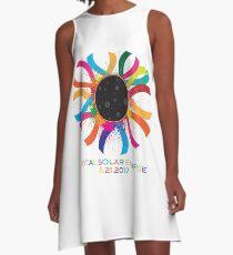2017 Total Solar Eclipse Corona Text Color Illustration A-Line Dress