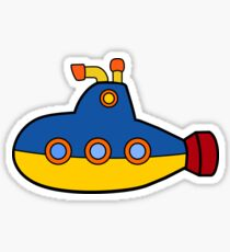 Simple Red, Yellow and Blue submarine Sticker