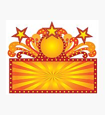 Retro Marquee Sign with Sunrays Stars Illustration Photographic Print
