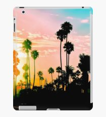 beach summer sunset with palm tree and blue sky iPad Case/Skin