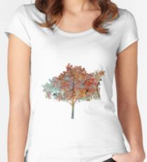 Trees in Fall Women's Fitted Scoop T-Shirt