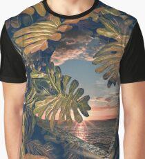 Sunset Hawaiian Beach Graphic T-Shirt