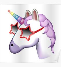 Unicorn Startstruck Emoji  Poster