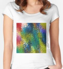 flower pattern abstract background in blue yellow green red Women's Fitted Scoop T-Shirt