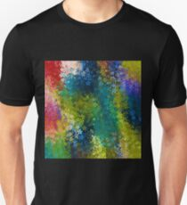 flower pattern abstract background in blue yellow green red Unisex T-Shirt