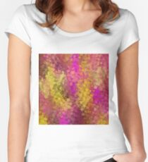 flower pattern abstract background in pink and yellow Women's Fitted Scoop T-Shirt