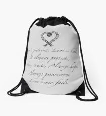 Love is patient, love is kind Drawstring Bag