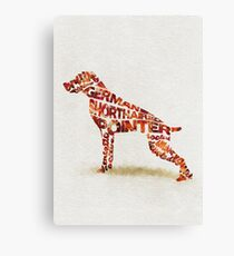 German Shorthaired Pointer Typographic Watercolor Painting Canvas Print