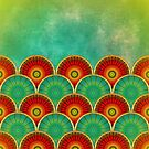 Abstract mandala pattern in red and green by fruity-shapes