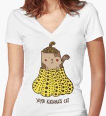 Pumpkin Cat Women's Fitted V-Neck T-Shirt