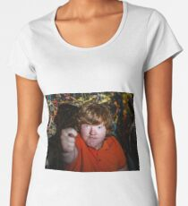 Red-haired funny fat boy showing fig sign Women's Premium T-Shirt