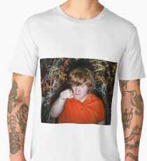 Red-haired freckled fat boy showing to youwith serious face Men's Premium T-Shirt