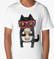 Coffee Cat and Doodles Long T-Shirt