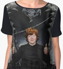 Red-haired boy sitting on the magic throne in studio Women's Chiffon Top