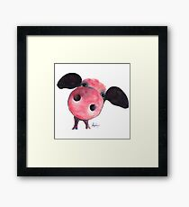NOSEY PIG ' CLARENCE ' By Shirley MacArthur Framed Print