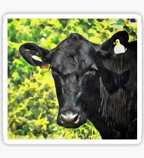 Cow With Yellow Earrings Sticker