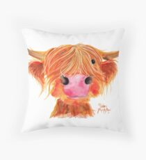 HIGHLAND COW ' ORANGE ' By Shirley MacArthur Throw Pillow