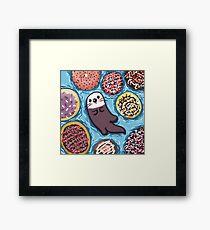 Otter Doughnut Float Framed Print