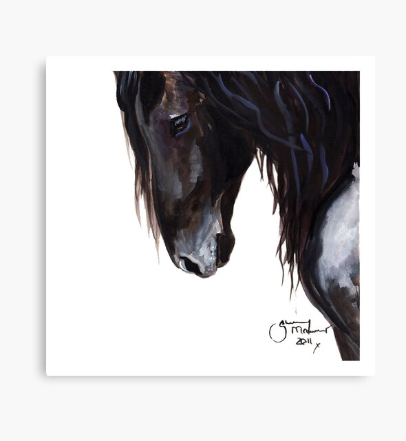 Horse PRiNT BLaCK FRieSiaN 'Wiser' By Shirley MacArthur by Shirley MacArthur