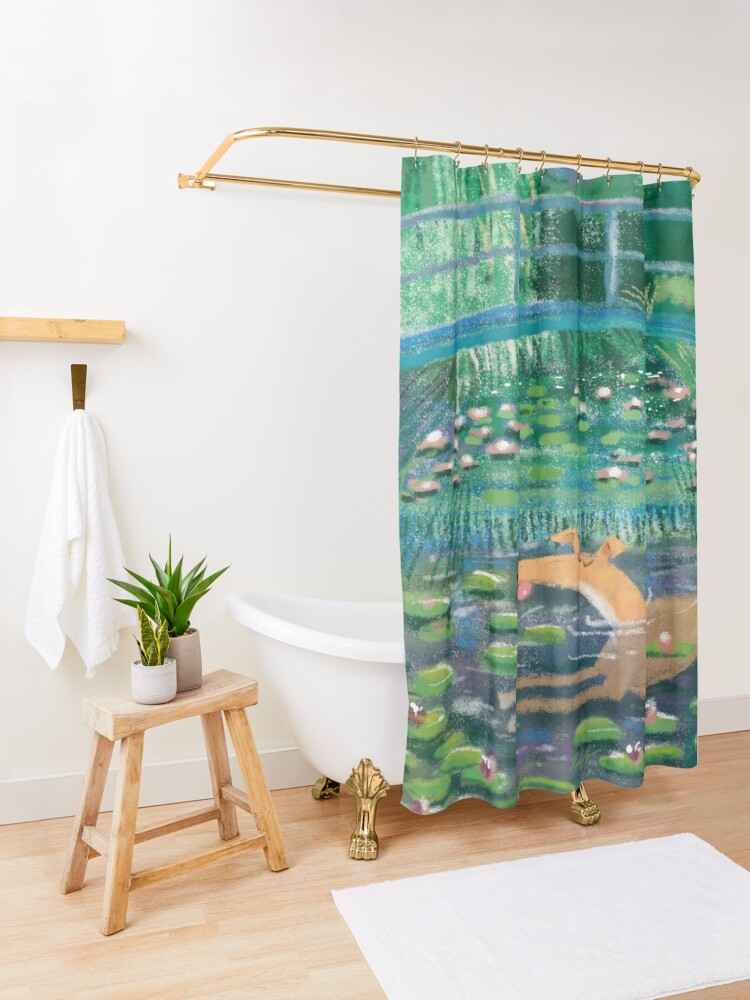 Alternate view of Greympressionism Shower Curtain