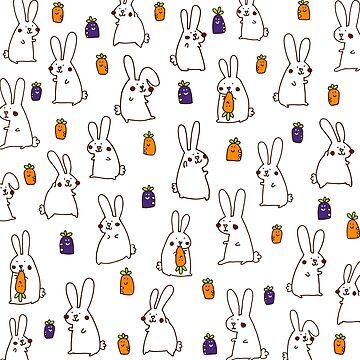 Rabbits in the field by littleredcheeks