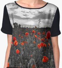 Only red color of poppies on black and white bachground, Alsace, France Women's Chiffon Top