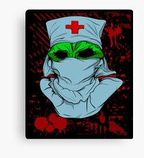 Zombie Nurse Scary Halloween Graphic Canvas Print