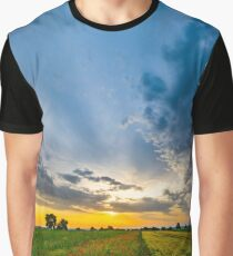Colorful landscape at sunrise: sun, red poppies and blue sky, Alsace, France Graphic T-Shirt