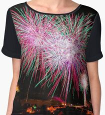 Long Exposure of Multicolored Fireworks Against a Black Sky - Bastille Day Chiffon Top
