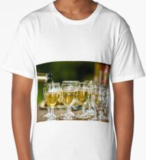 Filling glasses by champagne, outdoor party, celebration Long T-Shirt