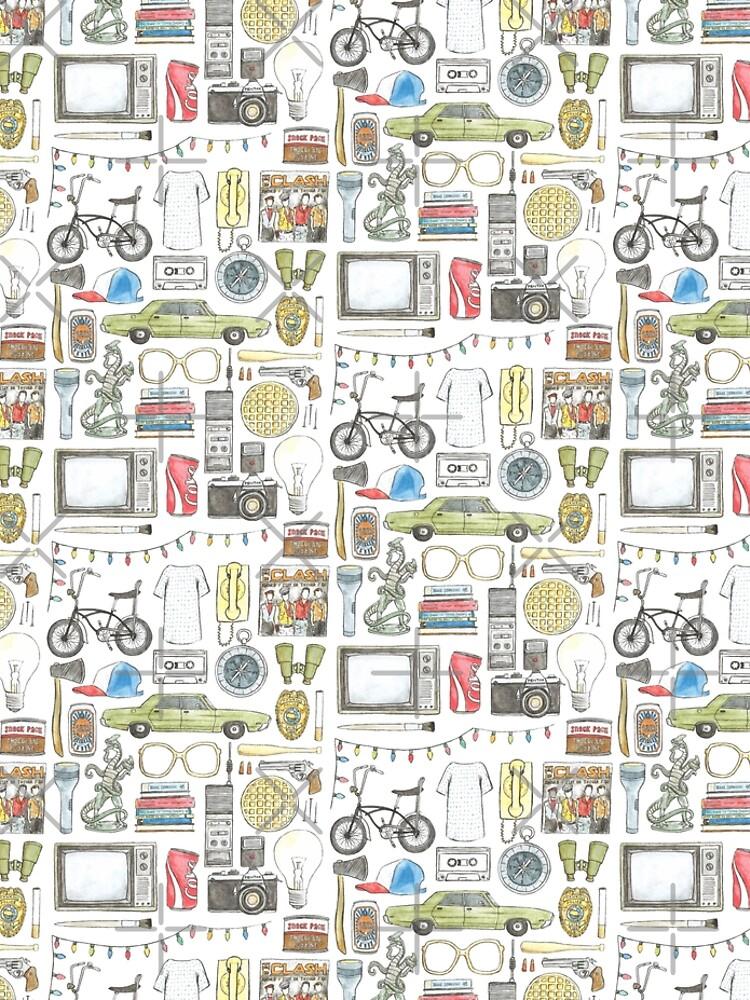 Cosas EXTRAÑAS Objeto ilustración gafas de barbilla citar huevos 011 boca abajo demogorgon once de flatlaydesign