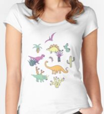Dinosaur Desert - peach, mint and navy - fun pattern by Cecca Designs Women's Fitted Scoop T-Shirt