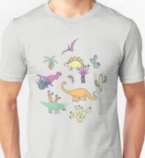 Dinosaur Desert - peach, mint and navy - fun pattern by Cecca Designs Unisex T-Shirt