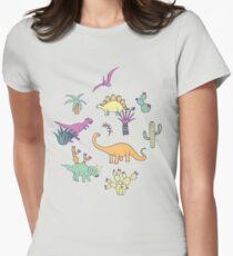 Dinosaur Desert - peach, mint and navy - fun pattern by Cecca Designs Women's Fitted T-Shirt