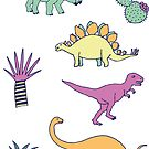 Dinosaur Desert - peach, mint and navy - fun pattern by Cecca Designs by Cecca-Designs