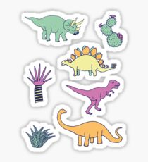 Dinosaur Desert - peach, mint and navy - fun pattern by Cecca Designs Sticker