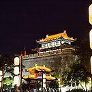 China. Xian. Ancient City Wall. Lamp Posts. by vadim19
