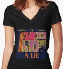 Abstract Lie Women's Fitted V-Neck T-Shirt