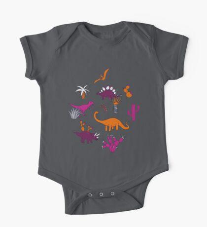 Dinosaur Desert - pink and orange on grey - fun pattern by Cecca Designs Kids Clothes