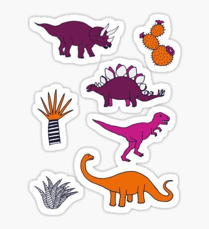 Dinosaur Desert - pink and orange on grey - fun pattern by Cecca Designs Sticker